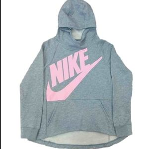 Girls grey and pink funnel neck Nike hoodie